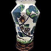 Large Italian Art Pottery Vase Artist Signed