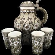 Art Nouveau Mettlach Villeroy & Boch Cider Set