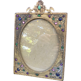 Art Deco Jeweled Reticulated Picture Frame