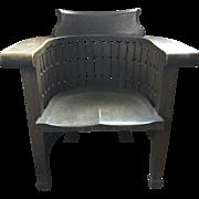 Mission Oak Plail Barrel Armchair