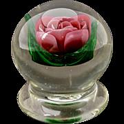 Charles Karin Lampwork Rose Paperweight