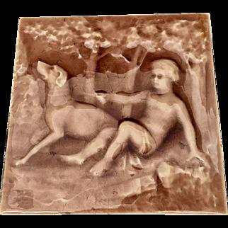 At Nouveau American Encaustic Tile Dog / Boy