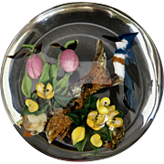 Rick Ayotte Orchid Bluejay Studio Glass Paperweight