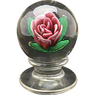 Francis Whittemore Red Rose Pedestal Paperweight