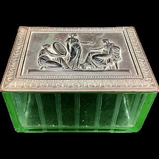 Art Deco Jennings Bros Uranium Vaseline Glass Box
