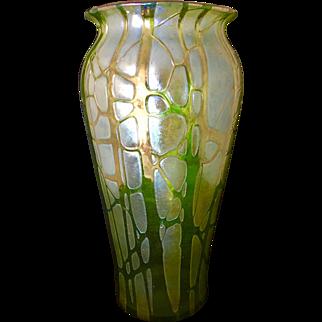 Large Austrian Art Nouveau Loetz Pampas Vase