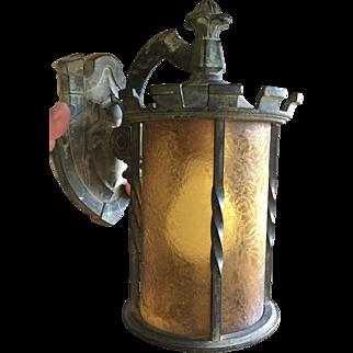 Outstanding Arts & Crafts Bronze & Amber Glass Lantern