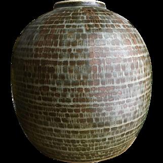 Rorstrand Carl Harry Stalhane Brick Stoneware MCM Large Vase