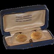 Art Deco Double Sided Cufflinks Original Box Gimbel Brothers Jewelers Mens
