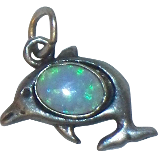 Adorable Sterling Silver Dolphin Charm Porpoise Vintage Pendant with Opal