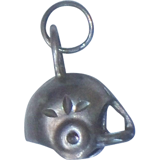 Vintage Sterling Silver Football Helmet 3 Dimensional Charm Sports 3D Pendant