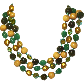 Gorgeous 1950s Triple Strand Choker Necklace Green & Gold Beaded Vintage Glass & Plastic