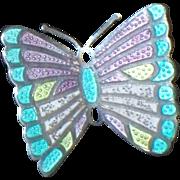 Margot de Taxco sterling butterfly pin , Vintage enamel sterling brooch Mexico