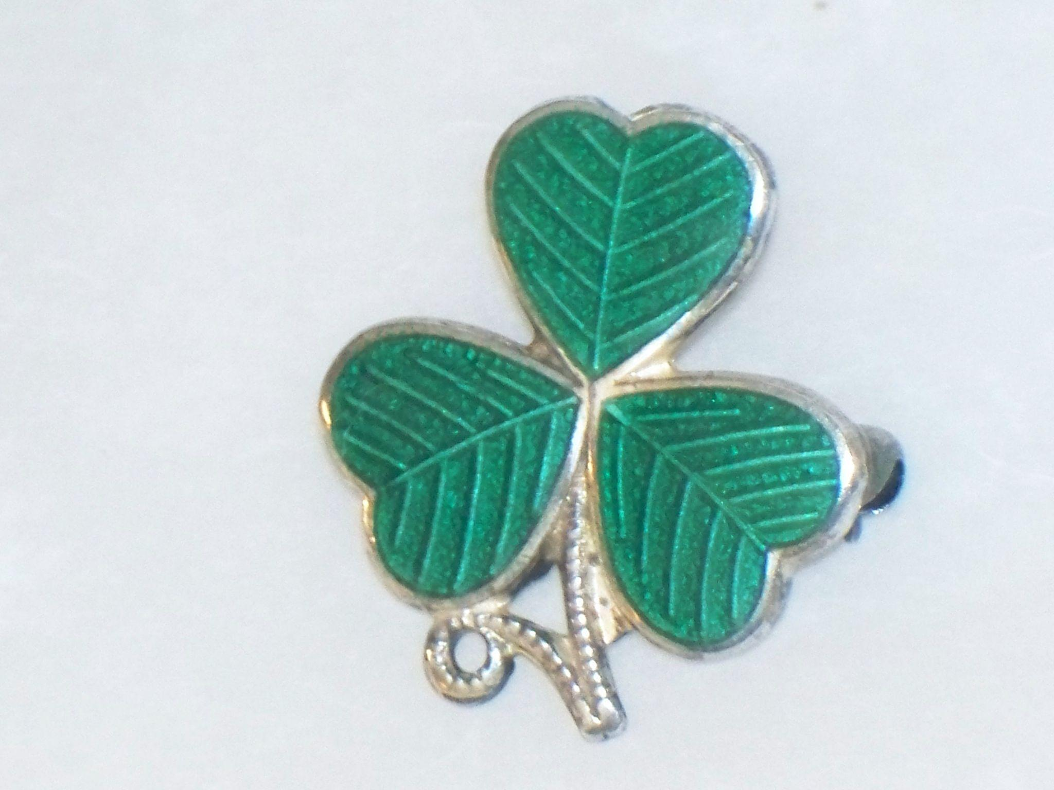 Sterling Silver Enamel Shamrock Pin , Scottish Celtic Irish Clover ...