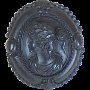 Antique Gutta Percha or Vulcanite Cameo Mourning Brooch Vintage Memorial Pin