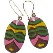 Carved Wooden Tribal Mask Painted Earrings