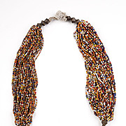 Multi-strand Orissa Multicolor Glass beads and Bronze Necklace