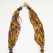 Multi-strand Orissa Striped Coloured Glass and Bronze beads Necklace