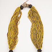 Multi-strand Orissa Yellow trade Glass beads and Bronze Necklace