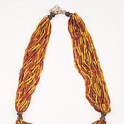 Multi-strand Orissa Yellow/Red/Orange trade Glass beads and Bronze Necklace