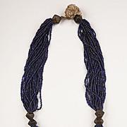Multi-strand Orissa Blue/Black trade Glass beads and Bronze Necklace
