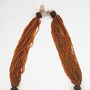 Multi-strand Orissa Shiny Orange trade Glass beads and Bronze Necklace