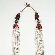Multi-strand Orissa White/Red trade Glass beads and Brass Necklace