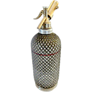 English ' Aerators ' Seltzer Bottle Siphon with Woven Wire 1910-30s Superb