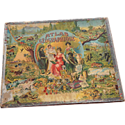 SAUSSINE World Atlas Picture Puzzle Antique Toy Game