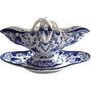 Sauce Boat in the Blue 'Flora' Pattern from Creil et Montereau French Porcelain