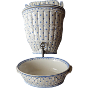 French Antique Porcelain Lavabo by Creil et Montereau Rare Complete with Basin