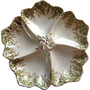 A Fine Porcelain French Oyster Plate from Limoges maker, Tressemanes and Vogt