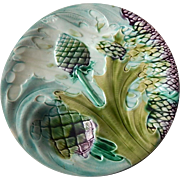 French Asparagus and Artichoke Plate in Majolica