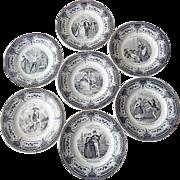 Set of 7 French Antique Dessert Plates Pleasures of Marriage Theme c. 1876-1884