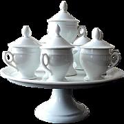 Antique Set of 8 French Porcelain Chocolate Pots on Server