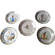 Antique French Plates Group of 5 from the 1800s Hand Painted
