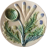 French Artichoke and Asparagus Plate in Majolica