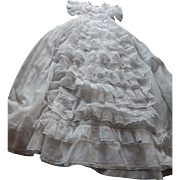 "French ""Victorian"" Christening Gown Handmade with Lots of Ruffles and Exceptional Embroidery in Finest Handkerchief Cotton"