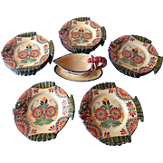 Quimper Service of 12 Fish Plates with Sauce Boat