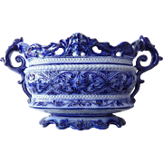 Large Majolica Antique French Jardiniere