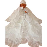 French Cotton Pique Christening Cape in Cotton Pique  Baby Boy...or Girl Rare and Elegant