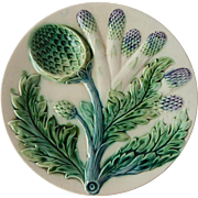 French Majolica Asparagus Plate Luneville
