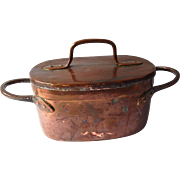 Antique  Hand Wrought French Copper Daubiere