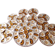 French Vintage Quimper Hand-painted Oyster Plates Set of 12 with Platter