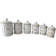 6 French Vintage Embossed Enamelware Canisters with Gold Decoration