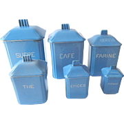 6 Vintage French Faience Canisters Very Deco Very Retro, Rare Set with Lids