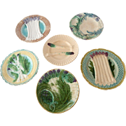 6  French  Majolica Asparagus Plates A Curated Collection