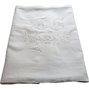 French Vintage Linen Sheet with Fine Monogram