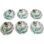 Group of 6 French Majolica Asparagus Plates