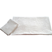 French Linen Tablecloth and 12 Matching Napkins Hand Embroidered with Grape Motif Finest Linen